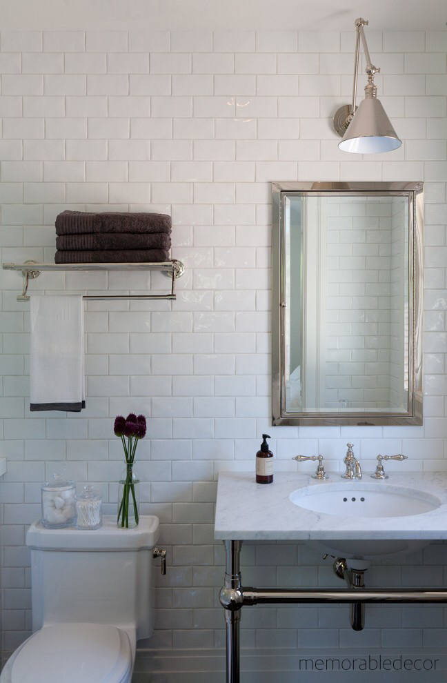 White Bath With Full Subway Tile Wall Pedestal Chrome Leg Marble Sink Hotel Towel Rack